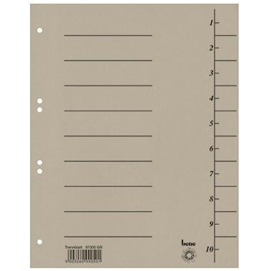 Trennblätter A4 bene 250 g/m² Karton grau 10 Taben blanko , 100 St./ Pack