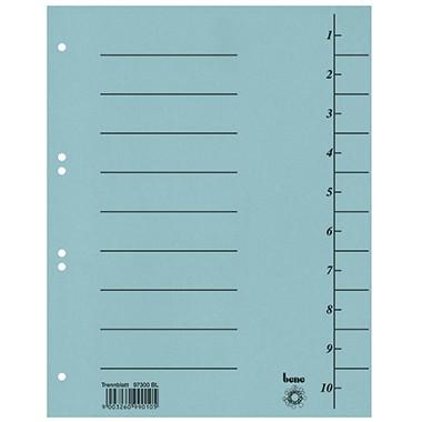 Trennblätter A4 bene 250 g/m² Karton blau 10 Taben blanko , 100 St./ Pack