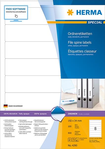 Etikett 192x34mm Ordner schmal/kurz weiß 100 Bl./ 800 Etiketten