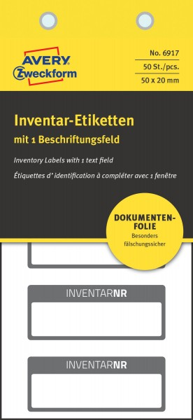 Inventar-Etiketten 50x20mm NoPeel schwarz 50 St./Pack