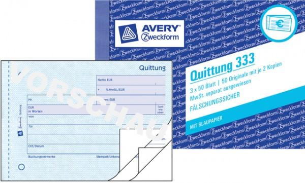 Zweckform Quittung A6 quer 3x 50 Blatt MwSt. separat nachgewiesen