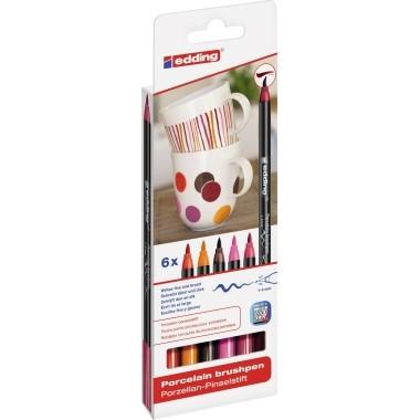 Edding 4200 Porzellan-Pinselstift 6 St./Pack rot, orange, braun, pink, karminrot,karmensin