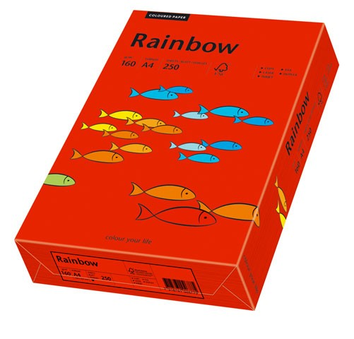 Kopierpap. A4 160g/m² intensivrot 250 Bl./Pack Rainbow Color (28)