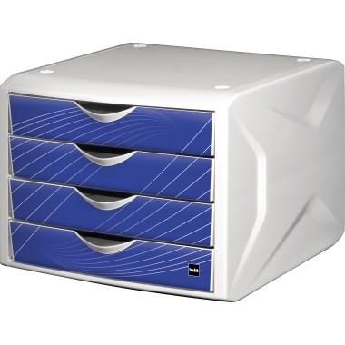 Schubladenbox Helit the chameleon blue knight Gehäuse weiß, Schubladen blau