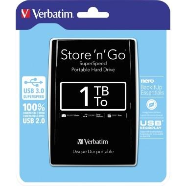 Festplatte extern Verbatim Store 'n' Go USB 3.0 1 Tbyte schwarz
