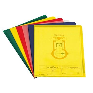 Aktenhüllen A4 PP 0,12mm farbig sortiert oben und rechts offen , 100 St./Pack