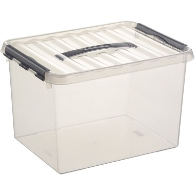 Aufbewahrungsbox Helit Q-Line 22 l transparent Maße: 30 x 26 x 40 cm (B x H x T)