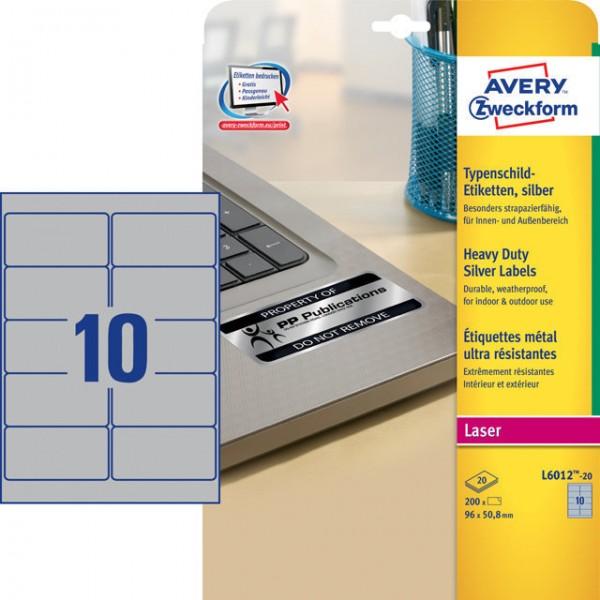 Etikett 96x50,8mm Typenschild Polyester silber 20 Bl./ 200 Etiketten