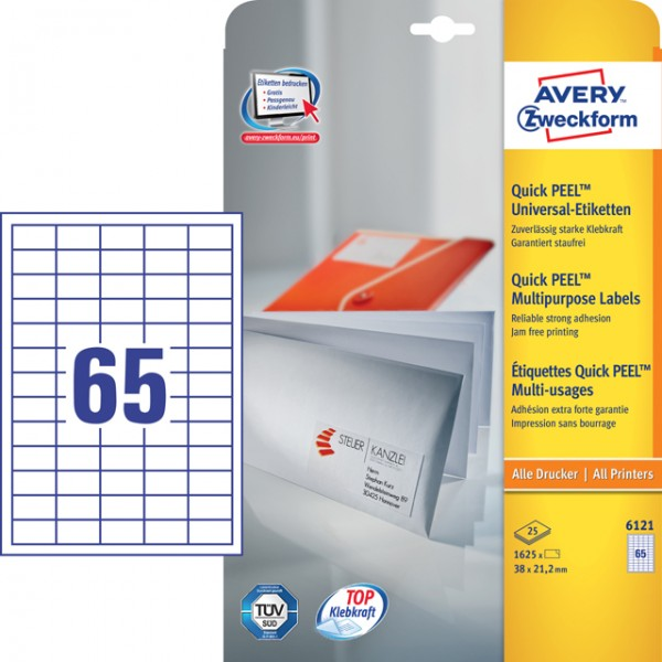 Etikett 38x21,2mm Universal weiß 25 Bl./ 1625 Etiketten