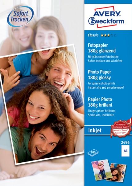 Inkjet Photo Papier A4 180 g/m² weiß glänzende Beschichtung, 100 Blatt/Pack