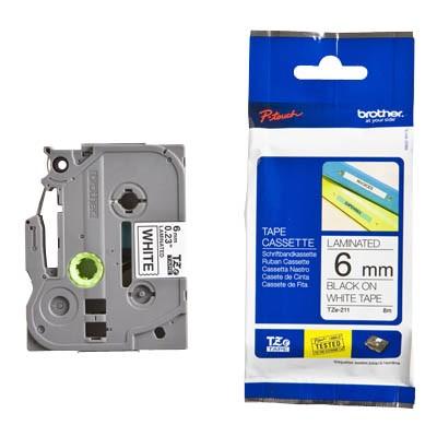 P-touch Kassette TZE-211 schw/weiss 6mm 300/310/340/350/540/550/200/220/1200/8m