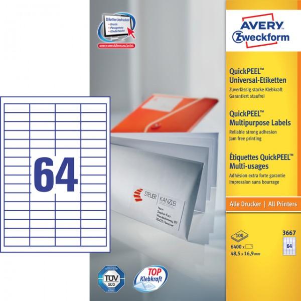 Etikett 48,5x16,9mm QuickPEEL Abziehhilfe weiß 100 Bl. / 6400 Etiketten