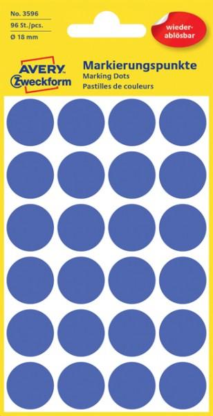 Etiketten 18mm blau wiederablösbar 96 St./Pack Markierungspunkt