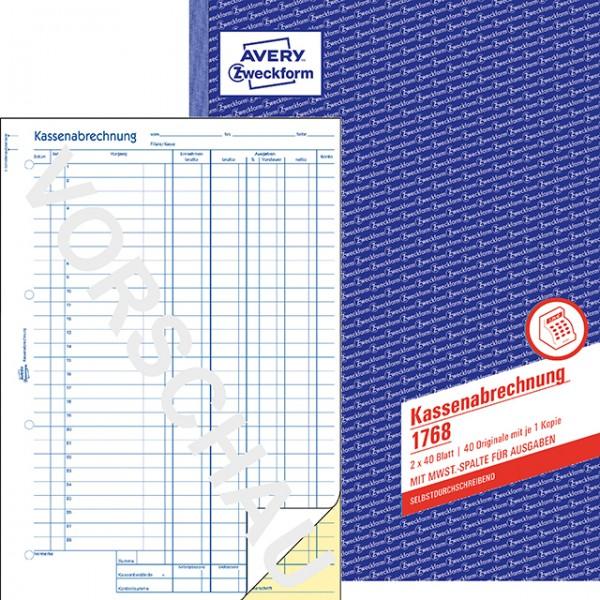 Zweckform Kassenabrechnung A4 2x 40 Blatt SD mit MwSt.-Spalte für Ausgaben