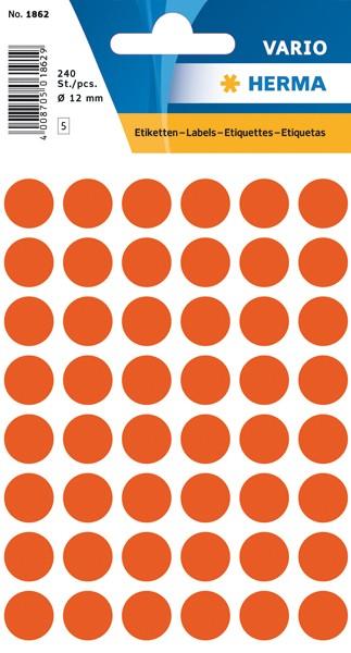 Etikett 12mm Farbpunkt rot 240 St./Pack **Restposten,begrenzte Menge**