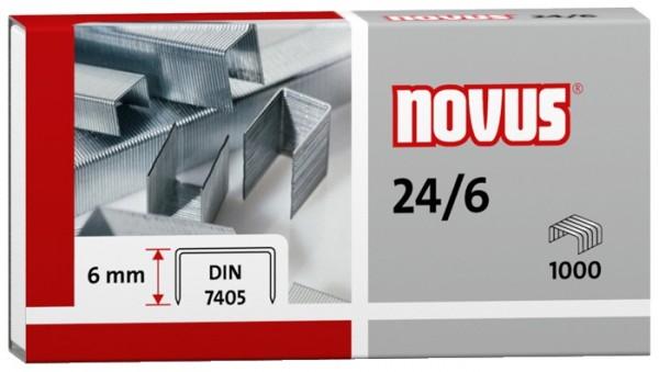 Heftklammern 24/6 verzinkt 1000 St./Pack Heftleistung: 25 Bl. (80 g/m²) NOVUS