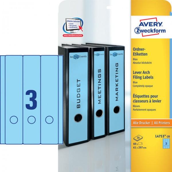 Etikett 61x297mm breit/ lang Ordner blau 20 Bl. / 60 Etiketten