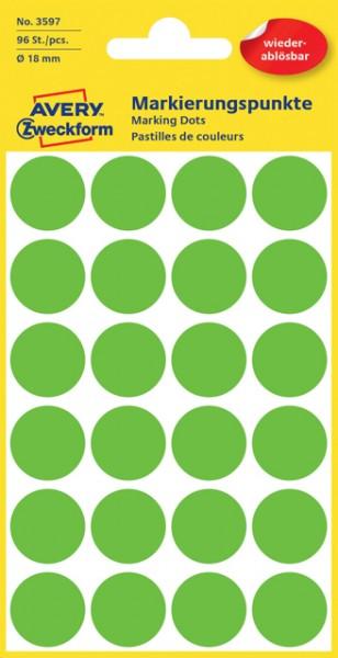 Etiketten 18mm grün wiederablösbar 96 St./Pack Markierungspunkt