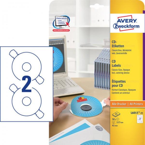 Etikett 117mm Ø CD ClassicSize matt weiß 25 Bl./50 Etiketten