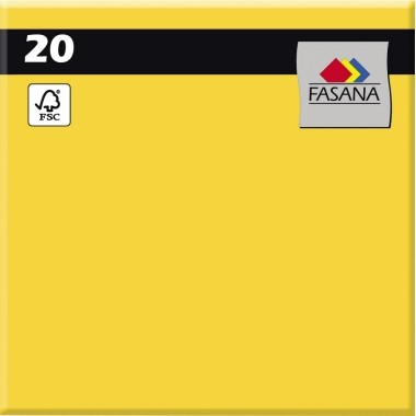 Servietten FASANA 3-lagig 33x33cm sonnengelb 1/4 Falz / 20 St./Pack