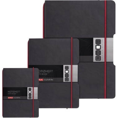 Notizbuch A4 Herlitz kariert my.book flex schwarz Lederoptik,80 g/m² , 4fach Lochung , 40 Blatt