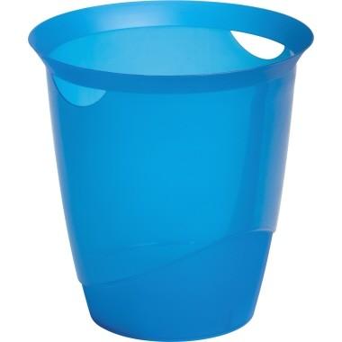 Papierkorb Durable TREND rund 16l blau transluzent Maße:31,5x33cm (Ø x H)/ mit Griffrand