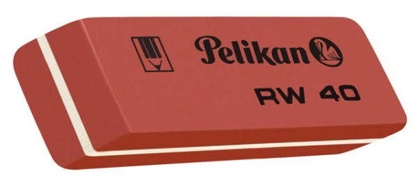 Radierer Pelikan RW 40 Naturkautschuk rot 58x8x20mm (B x H x L)