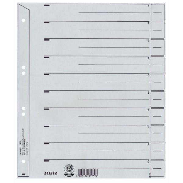 Trennblätter A4 grau ohne Ösen 25 St./Pack