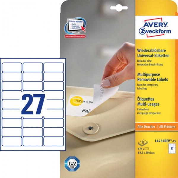 Etikett 63,5x29,6mm Universal ablösbar weiß 25 Bl. + 5 Bl. / 675 Etiketten + 135 Etiketten