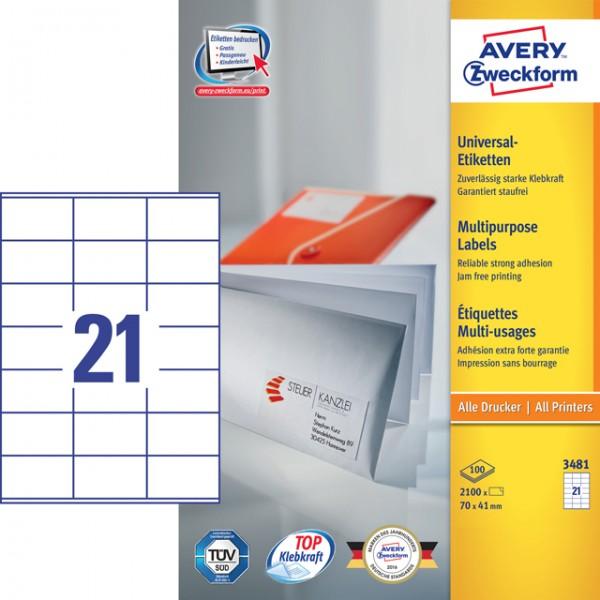 Etikett 70x41mm Universal weiß 100 Bl. / 2100 Etiketten