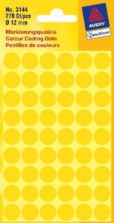 Etikett 12mm gelb 270 St./Pack Markierungspunkt
