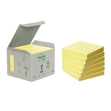 Haftnotiz 76x76mm Post-it® Recycling Notes gelb 100 Bl./Block,6 Block/Pack