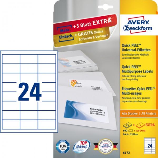 Etikett 64,6x33,8mm Universal weiß 600 Etik./Pack