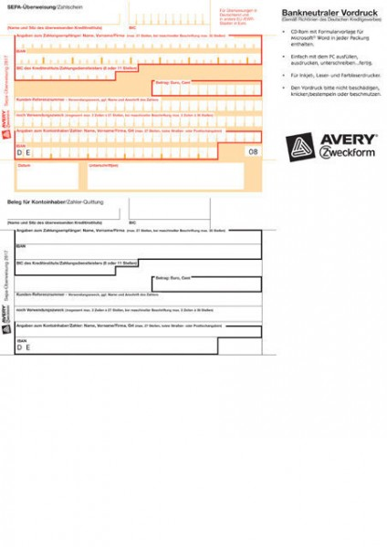 ÜBERWEISUNG SEPA A4 PC DRUCKERFORMULAR F.MICROSOFT WORD / 100 BLATT/PACK