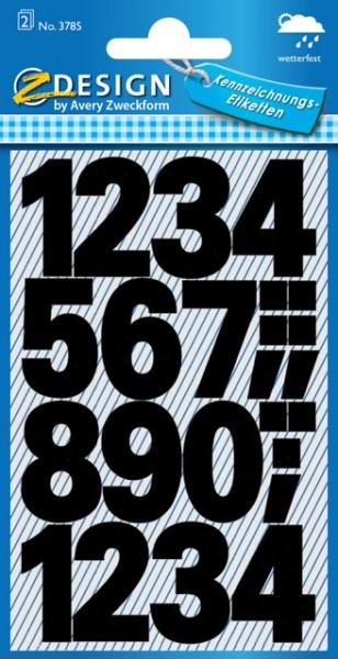 Etiketten Zahlen 0-9 schwarz 25mm 2 Bogen **Restposten,begrenzte Menge**