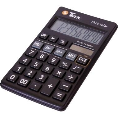 Taschenrechner Triumph-Adler Twen 1020 schwarz 10-stellig, Solar-Energie, Batterie