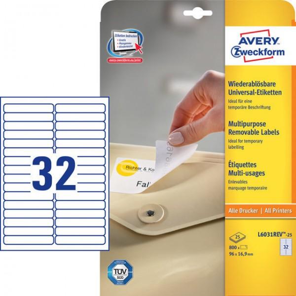 Etikett 96x16,9mm Stick+Lift wiederablösbar weiß 25 Bl. + 5Bl. / 800 Etiketten + 160 Etiketten