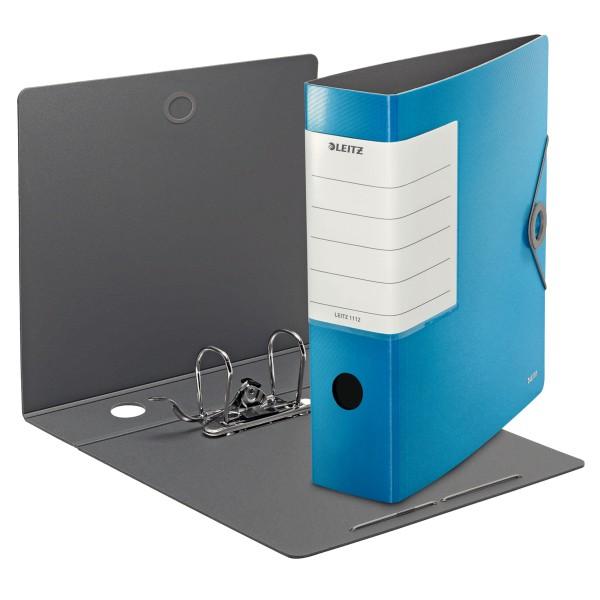 Ordner A4 Solid 82mm Rückenbreite hellblau Gummizugverschluss/Sichttasche Rücken/Polyfoam