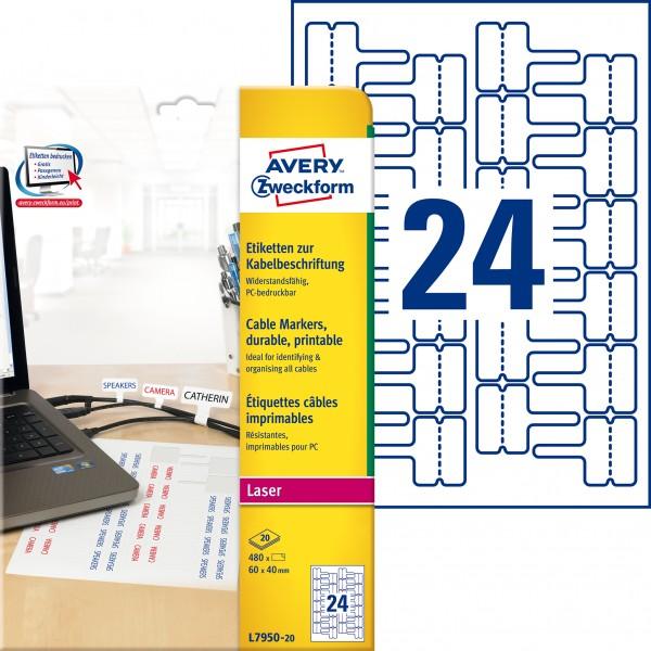 Etikett 60x40mm LC Polyester weiß 20 Bl./ 480 Etiketten