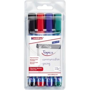 Edding Flipchartmarker 380 4 St./Pack schwarz,blau,rot,grün,Strichstärke: 1,5-3 mm