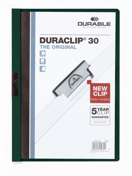 Klemmappen A4 Duraclip 30 f.30 Blatt petrol 32 Farbe der Vorderseite/Rückseite: transp/dunkelgrün