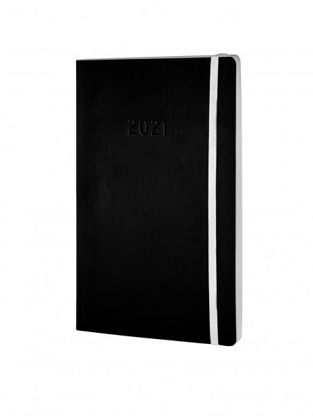 Buchkalender A5 2 Seiten=1 Woche 2021 schwarz Softcover