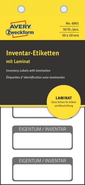 Inventar-Etiketten 50x20mm mit Laminat schwarz 50 St./Pack