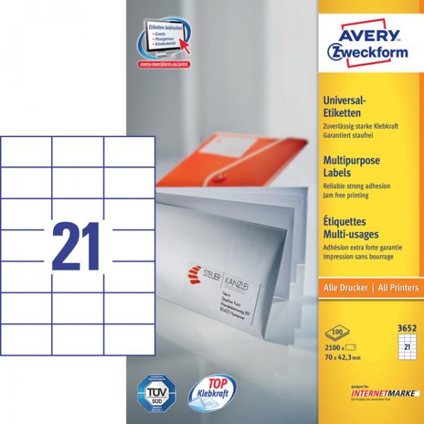 Etikett 70x42,3mm Universal weiß 100 Bl./ 2100 Etiketten
