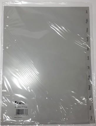 Register A4 Jan-Dez 12 Blatt Plastik **Restposten, begrenzte Menge**