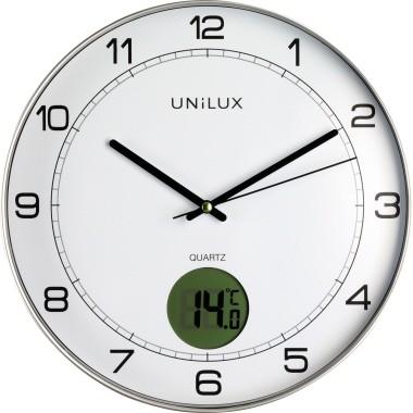 Wanduhr Unilux Tempus quarzgesteuert analog Durchmesser: 30,5 cm , mit Thermometer