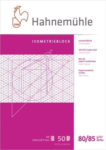Isometrieblock A4 80/85g/m² blau 50 Blatt rautiert ,Hahnemühle