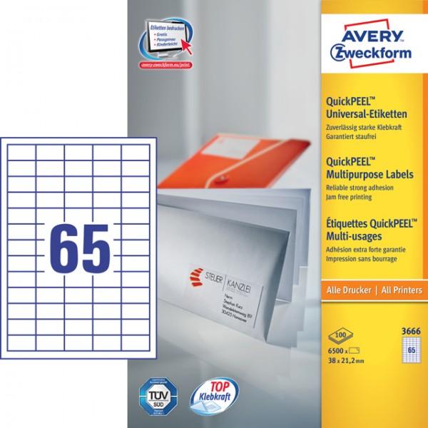Etikett 38x21,2mm Universal QuickPEEL weiß 100 Bl./ 6500 Etiketten