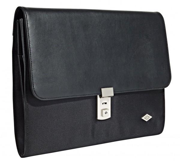 Aktenmappe WEDO Elegance Kunstleder/Nylon schwarz Maße: (B)360 x (T)60 x (H)270 mm