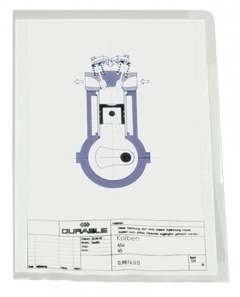SICHTHÜLLEN A4 PVC 0,15MM HARTFOLIE TRANSPARENT OBEN+RECHTS OFFEN / 50 ST.PACK